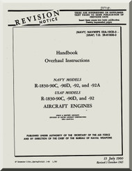 Pratt & Whitney R-1830 -90C -90D -92 -92A  Aircraft Engine Overhaul  Manual