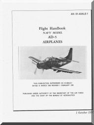 Douglas AD-5  Aircraft Flight  Handbook Manual  A.N. 01-40ALE-1 , 1955