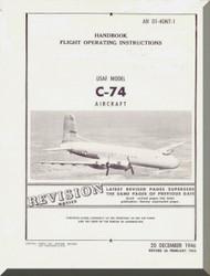 Douglas C-74   Aircraft  Handbook  Flight Operating Instructions  Manual  ,  AN 01-40NT-1, 1946