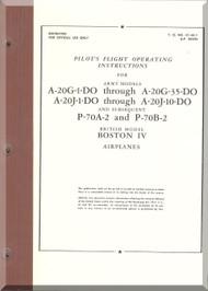 Douglas A-20 G-1 DO, -35 DO   A-20J-1DO , -10DO P-70A-2 , - B-2 Aircraft Pilot's Handbook  Manual  AN 01-40L-1 , AP 2023D - 1944