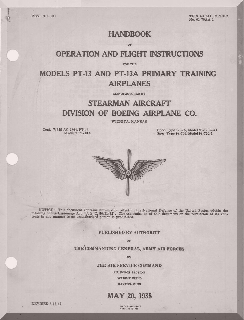 Stearman Pilot Flight Operating Instructions for Army