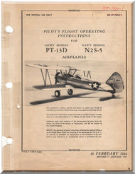 Stearman Pilot Flight Operating Instructions for Army Model  P-13D, N2S-5  Airplane  Manual   T.O. 01-70AC-1,  1940