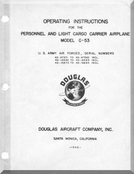 Douglas C-53  Aircraft Operating Instructions Manual  , 1942