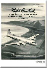 Douglas C-54 D, E, R5D-5   Aircraft  Handbook Flight Operating Instructions  Manual  ,  T.O. 1C-54D-1, AN 01-40NS-1, 1955