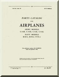 Douglas C-54 B, D, E, G, R5D-2,-3-4   Aircraft  Parts Catalog  Manual  , 1946