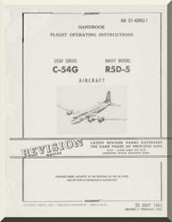 Douglas C-54 G, R5D-5   Aircraft  Handbook Flight Operating Instructions  Manual  ,  AN 01-40NU-1, 1945