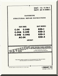 Douglas C-54 A, B, D, E, G,  R5D-1, -2, -3, -4 -5   Aircraft  Structural Repair Instructions  Manual  ,  AN 01-40NM-3, 1944
