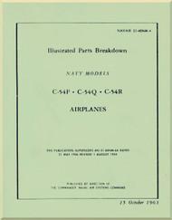Douglas C-54 P Q R Aircraft Illustrated  Parts  Catalog Manual -  NAVAIR 01-40NM-4 -1963