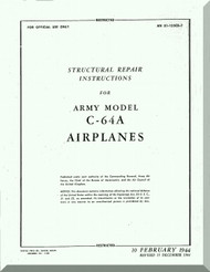 Nooduyn Norseman C-64 A Aircraft  Structural Repair Instructions  Manual AN  0155CB-2, 1944