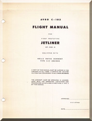 Avro C-102 Jet liner Aircraft Flight Manual