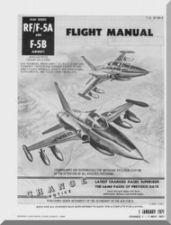 Northrop RF/F-5 F-5 B  Aircraft Flight Manual T.O. 1F-5A-1, 1971