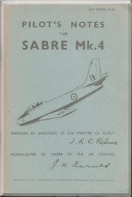 Canadair CL-13 Sabre Mk.4  Aircraft  Pilot's Notes Manual  - AP 4503D PN