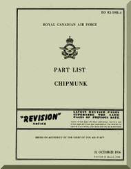 De Havilland Chipmunk  Aircraft Part List Manual -   RCAF - EO 05-10B - 1956
