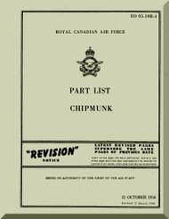 De Havilland Chipmunk  Aircraft Part List Manual -   RCAF - EO 05-10B - 1956