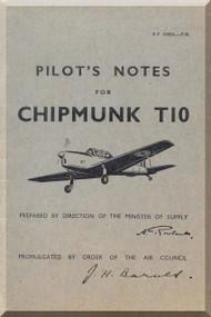 De Havilland Chipmunk T10 Aircraft Pilot's Notes Manual AP 4308A