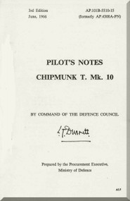 De Havilland Chipmunk T Mk.10 Aircraft Pilot's Notes Manual AP. 101B-5510-15