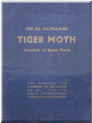 De Havilland  DH-82 C Tiger Moth  Aircraft Schedule of Spare Parts Manual -   1942