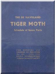 De Havilland  DH-82 C Tiger Moth  Aircraft Schedule of Spare Parts Manual -   1942