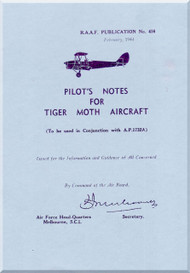 De Havilland Tiger Moth Aircraft Pilot's Notes Manual