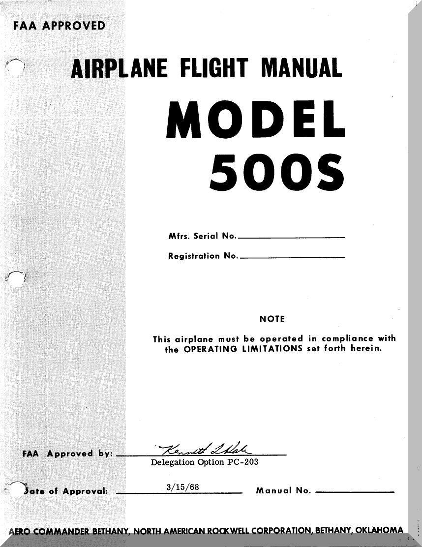 Aero Commander 500 S Aircraft Flight Manual - 1968. Price: $14.85. Image 1