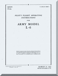 Interstate L-6  Aircraft Pilot's flight Operating Instructions  Manual , T.O. 01-160LA-1, 1943