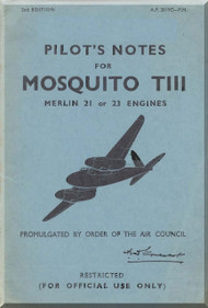 De Havilland Mosquito TIII Aircraft  Pilot's Notes Manual