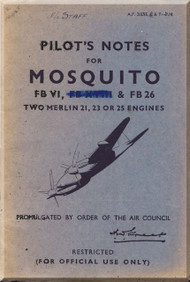 De Havilland Mosquito FB VI  Aircraft Pilot's Notes Manual