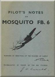 De Havilland Mosquito FB 6 Aircraft  Pilot's Notes Manual