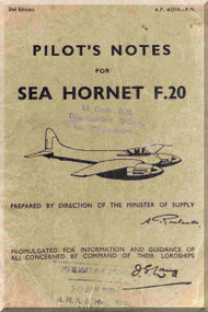 De Havilland Sea Hornet F.20 Aircraft Pilot's Notes Manual