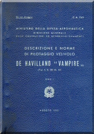De Havilland Vampire  Aircraft Pilot Manual -  ( Italian Language )