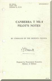 English Electric Canberra T Mk.4  Aircraft  Pilot's Notes Manual  AP 101B-0404-15
