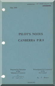 English Electric Canberra P.R. 9  Aircraft  Pilot's Notes Manual  AP 191B-0409-15