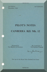 English Electric Canberra B Mk.12  Aircraft  Pilot's Notes Manual  AP 4326M