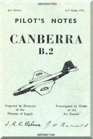 English Electric Canberra B.2  Aircraft  Pilot's Notes Manual  AP 4326B