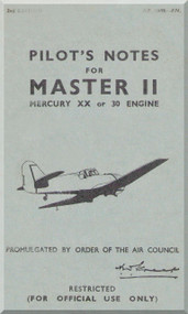 Miles Master II  Aircraft Pilot's Notes Manual