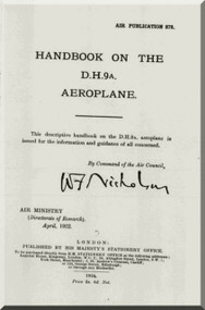 Airco De Havilland DH-9 A Aircraft Aeroplane Handbook  Manual - Air Publication 878