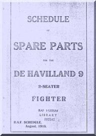 Airco De Havilland DH-9  Aircraft Aeroplane Spare Parts  Manual