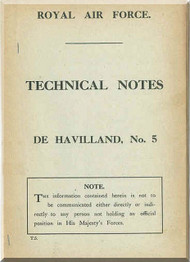 Airco De Havilland DH-5 Aircraft Technical Notes Manual - RAF