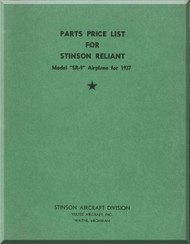 Stinson SR-9 Aircraft Part Price List Manual - 1937