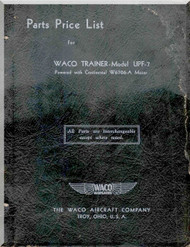 WACO UPF -7 Aircraft Parts Price List Manual
