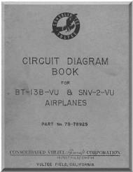Vultee   BT-13 B-Vu & SNV-2-VU , Airplane Circuit Diagram  Manual -  Part no 79-78925, 1942