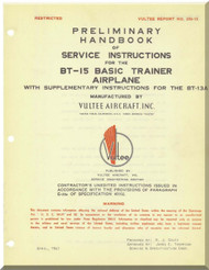 Vultee   BT-15   Preliminary Service Instruction   Manual -  ,1941