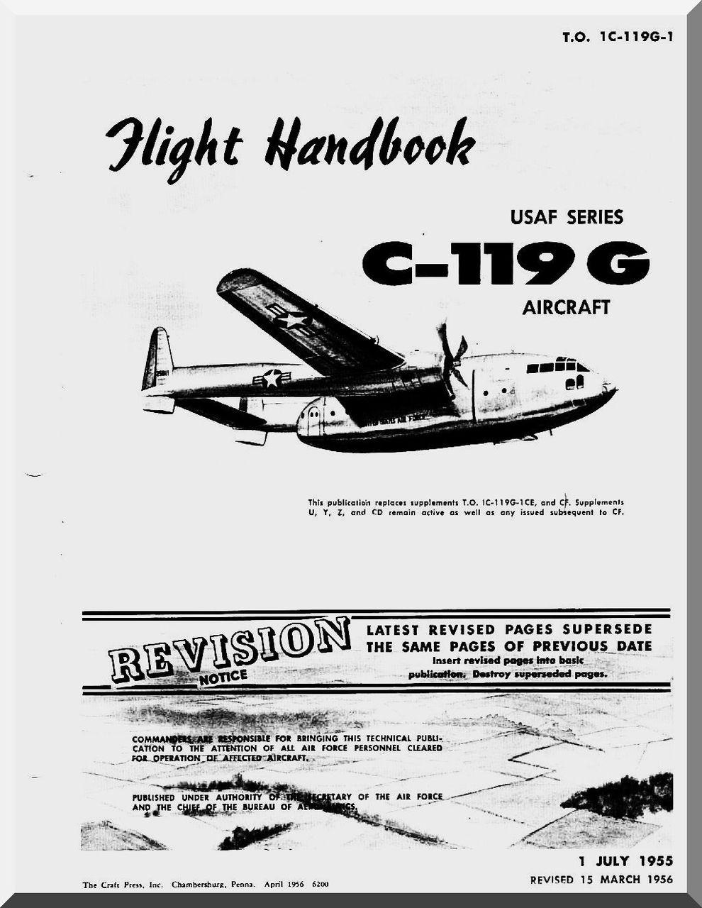 Fairchild C-119 G , Flight Manual TO 01-119G-1 , 1955