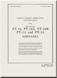 Fairchild PT-19, -19A, -19B, -23, -26  ,  Pilot's Flight operating Instructions Manual TO  01-115GA-1 , 1943