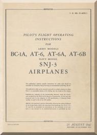 North American Aviation BC-1A, AT-6 A, B  SNJ -3  Aircraft  Pilot's Handbook Manual -  TO 01-60FEC-1 - 1941