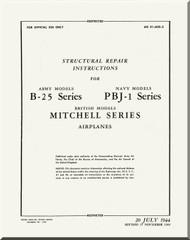 North American Aviation B-25  PBJ-1 ,  Aircraft Structural Repair   Manual - AN  01-60G-3 , 1944