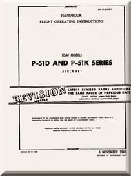 North American Aviation P-51 D, K  Aircraft Handbook Flight Operating instructions Manual -  TO 1-60JE-1 - 1945