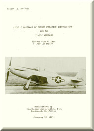 North American Aviation XP-51J Aircraft Pilot's Handbook of flight Operating Instruction - engine V-1710-119  Manual -  Report NA-8057 - 1946