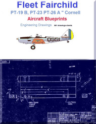 """Fleet Fairchild PT-19 B, PT-23 PT-26 A """" Cornell """" Aircraft Engineering Drawings Blueprints - Download"""