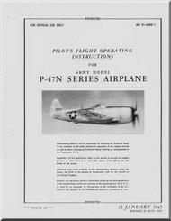 Republic P-47 N Aircraft Pilot's Flight Instructions  Manual NO 01-65BD-1  - July 1945 -